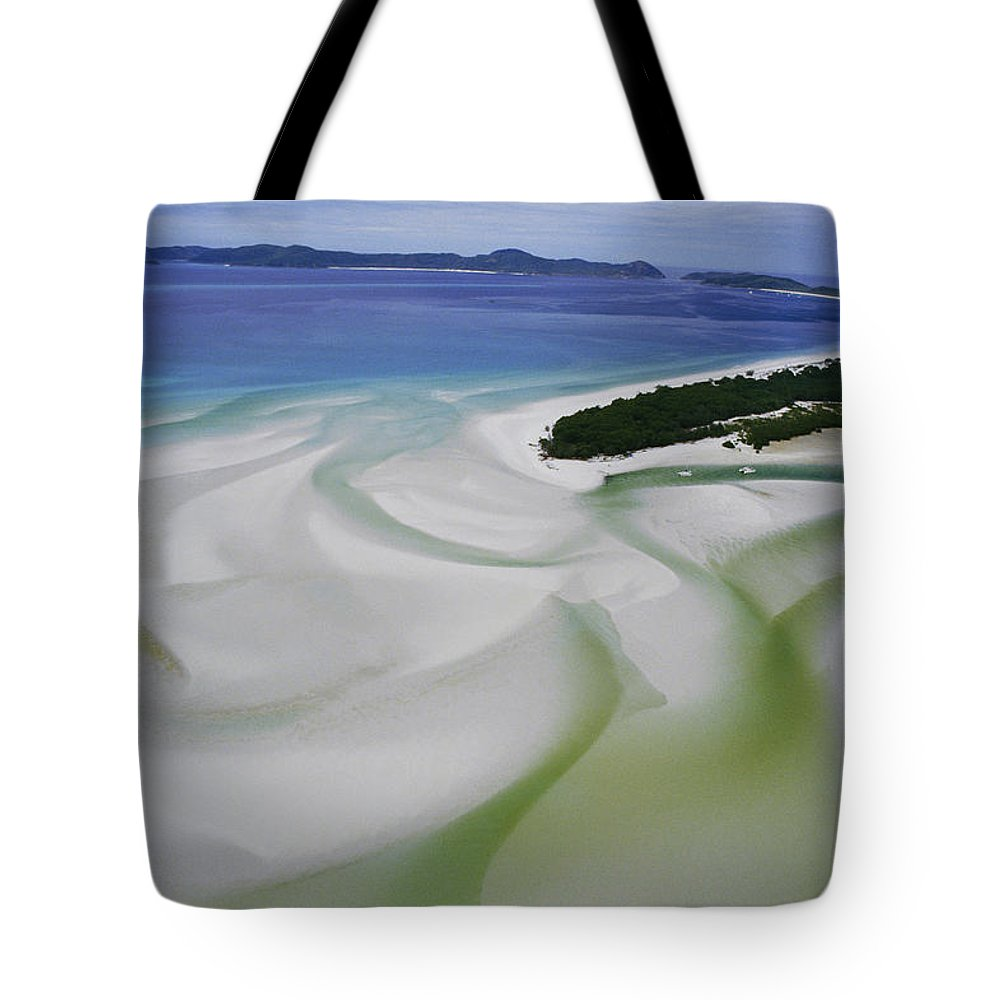 Whitsunday Islands National Park Tote Bag featuring the photograph Sandbars Create An Interesting Pattern by Paul Chesley