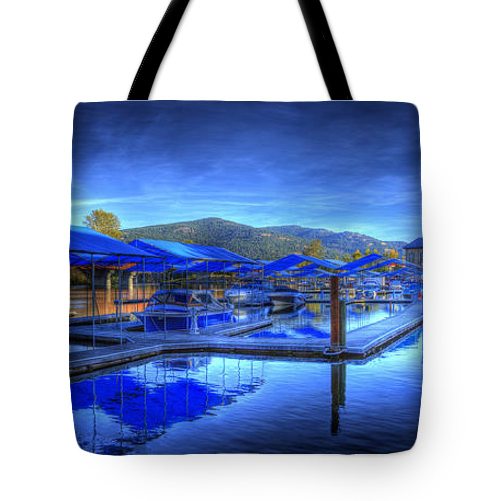 Scenic. Landscape Tote Bag featuring the photograph Sandpoint Marina And Power House 1 by Lee Santa