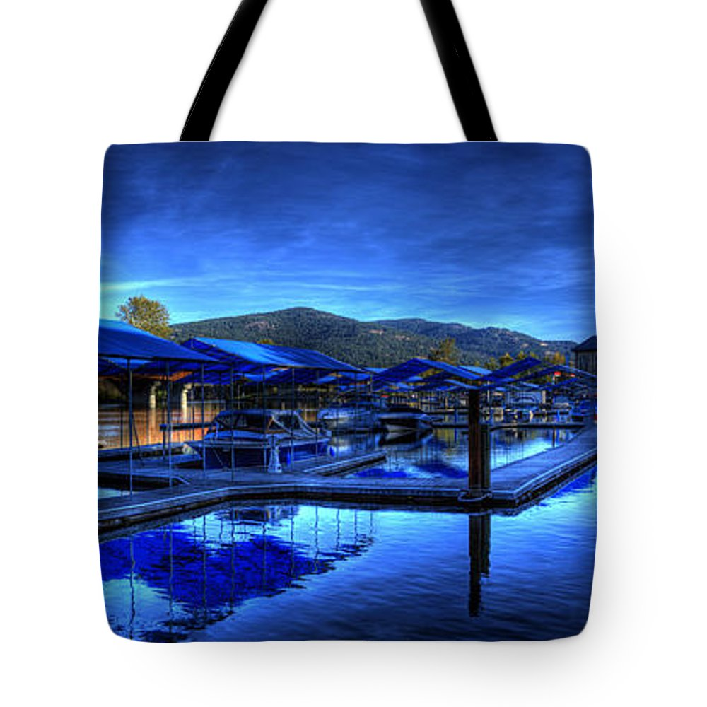 Landscape Tote Bag featuring the photograph Sandpoint Marina And Power House 3 by Lee Santa