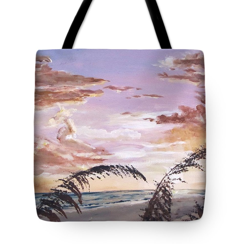Sunset Tote Bag featuring the painting Sanibel Island Sunset by Jack Skinner