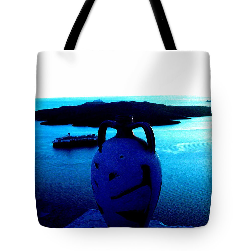 Colette Tote Bag featuring the photograph Santorini By Night Greece by Colette V Hera Guggenheim
