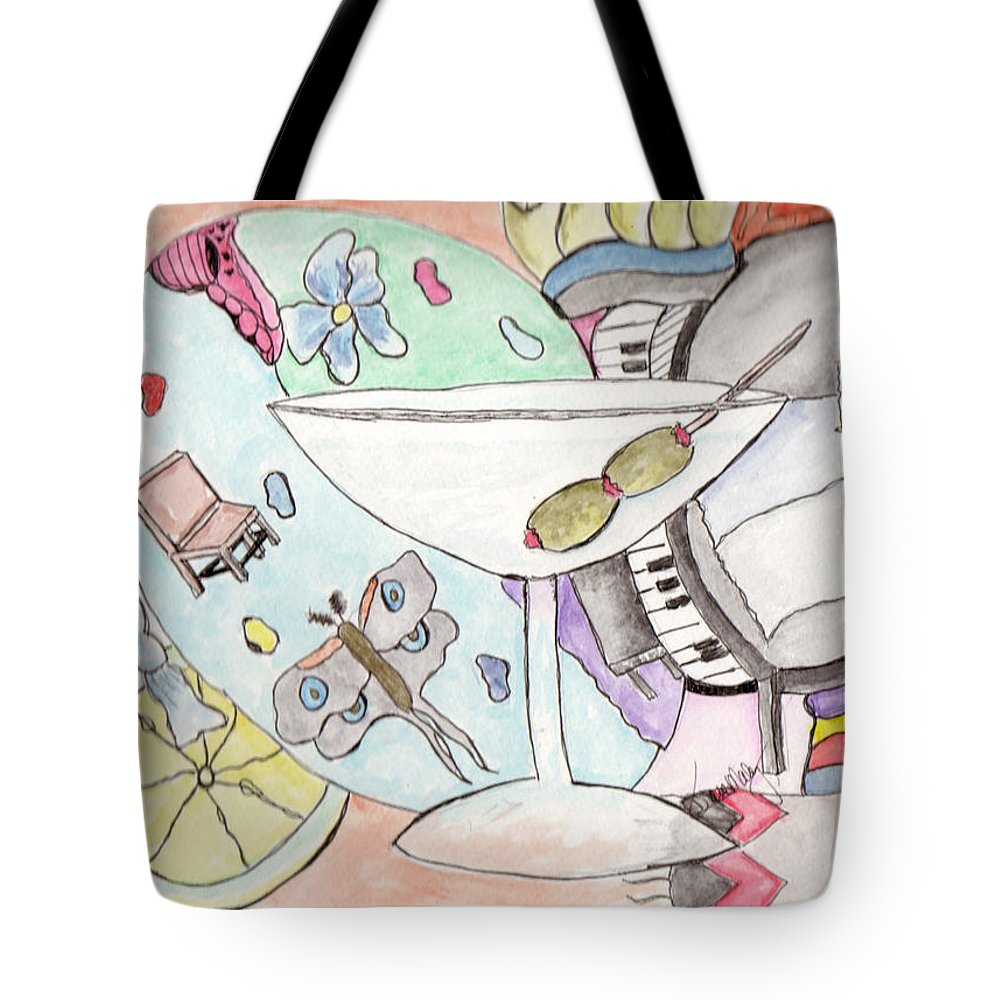 Martini Tote Bag featuring the mixed media Saturday Delusion by Diane Maley