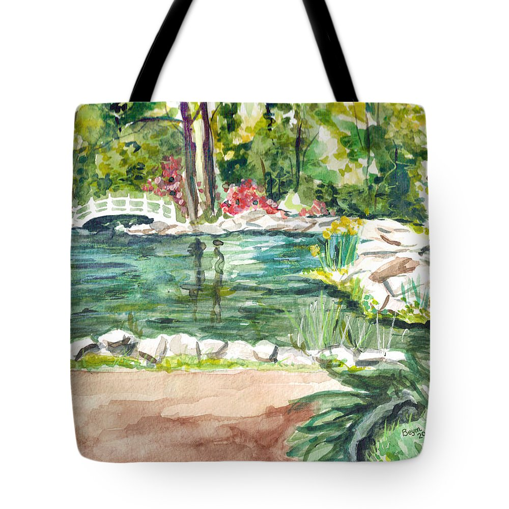 Pond Tote Bag featuring the painting Sayen Pond by Clara Sue Beym