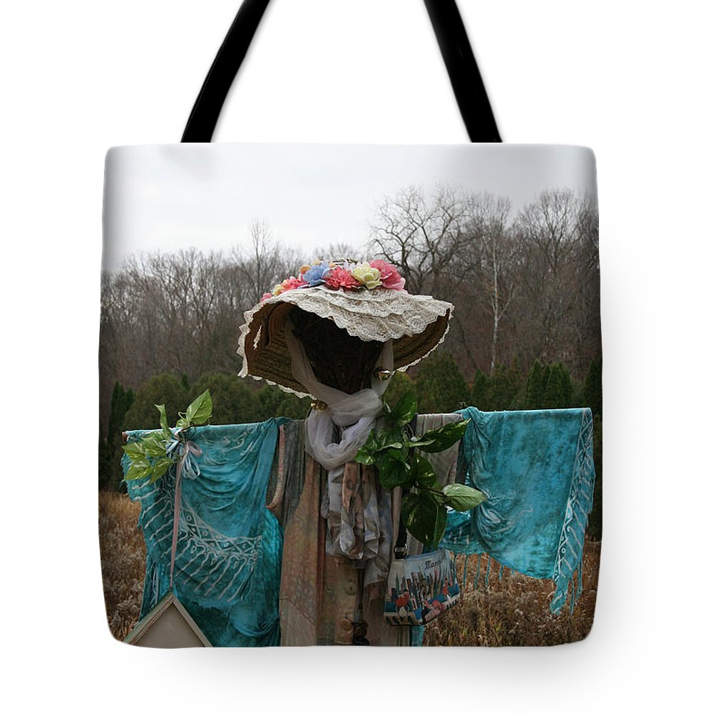 Outdoors Tote Bag featuring the photograph Scarecrow Garden Art by Susan Herber