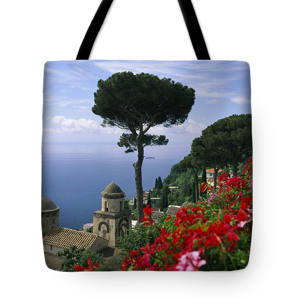 Europe Tote Bag featuring the photograph Scenic View Of Villa Rufolo Terrace by Richard Nowitz