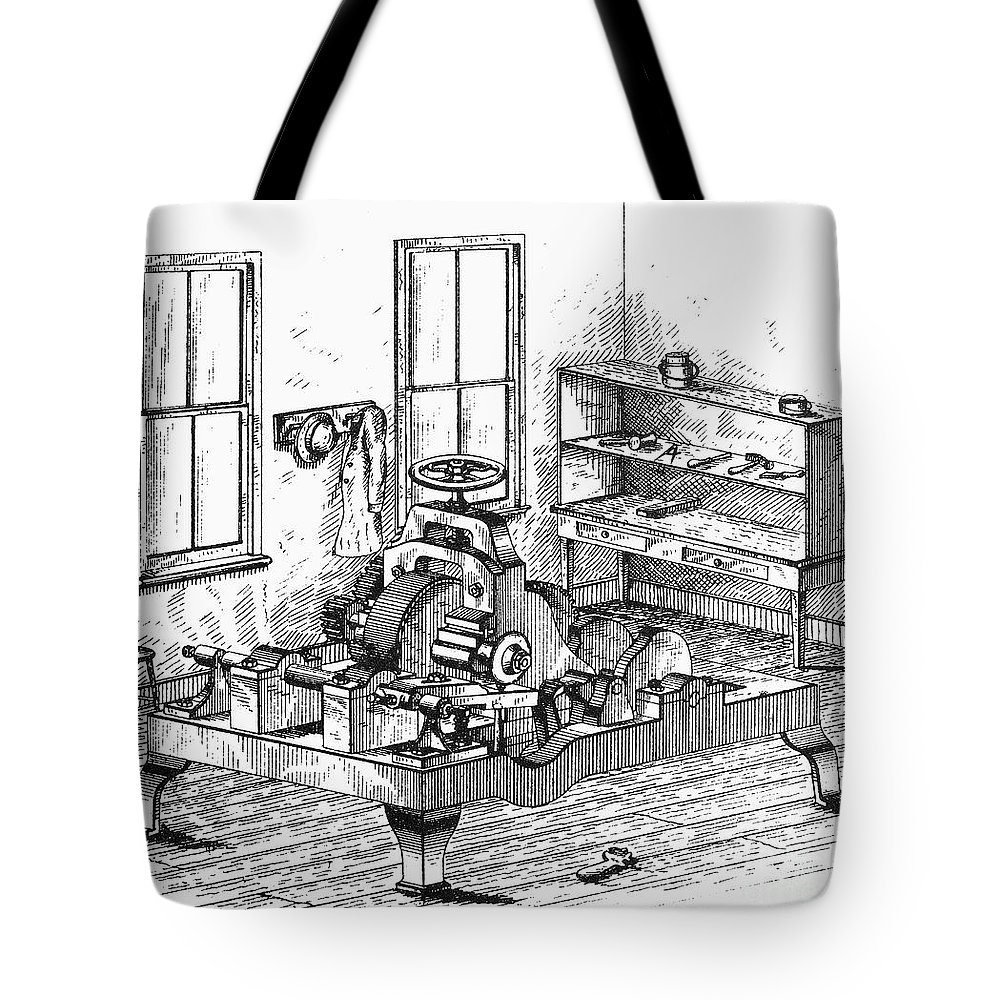 1850 Tote Bag featuring the photograph Screw-making Machine by Granger