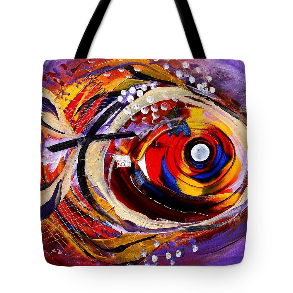 Fish Tote Bag featuring the painting Scripture Fish by J Vincent Scarpace
