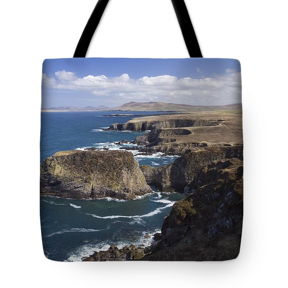 Seascape Tote Bag featuring the photograph Sea Cliffs And Coastline Near Erris by Gareth McCormack
