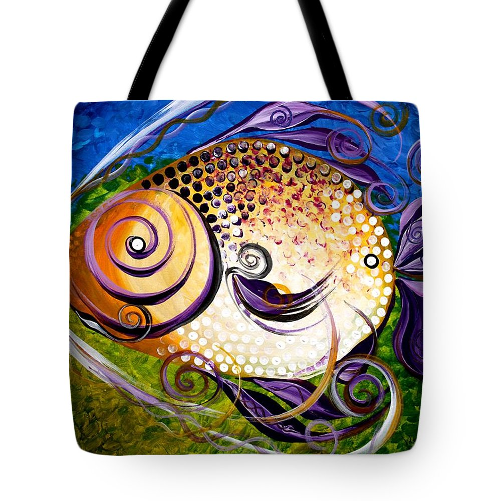 Fish Paintings Tote Bag featuring the painting Seagrass And Sultry Non-subtlety by J Vincent Scarpace