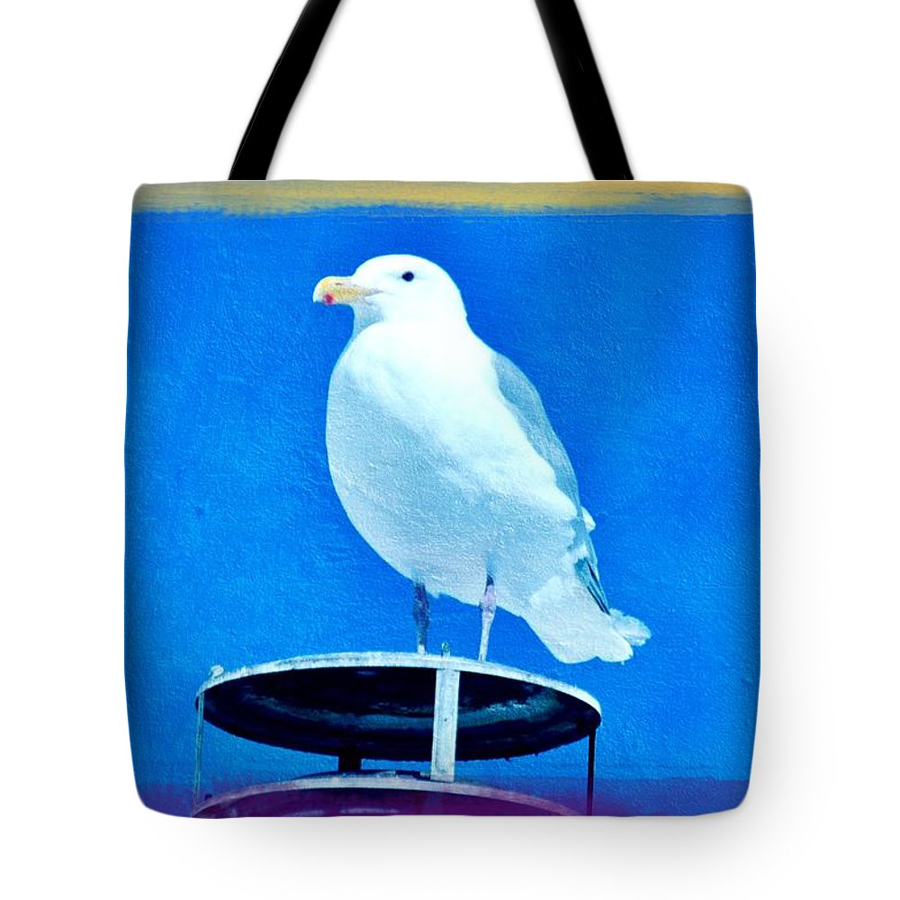 Seagulls Tote Bag featuring the photograph Seagull Fun Colors by Debra Miller