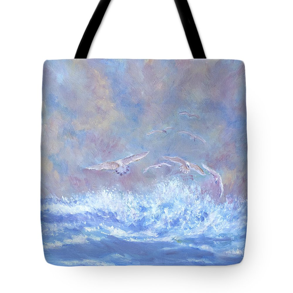 Seascape Tote Bag featuring the painting Seagulls At Play by Ben Kiger
