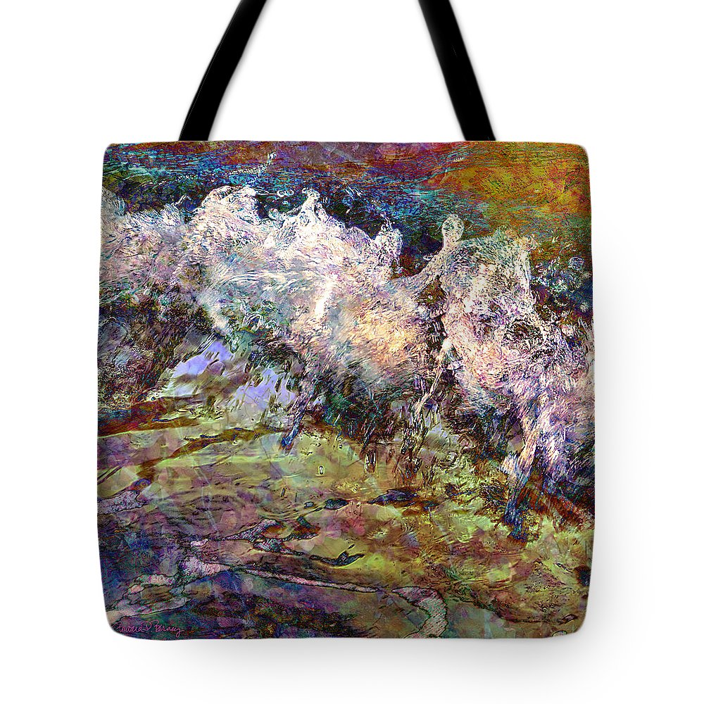 Ocean Tote Bag featuring the digital art Seascape by Barbara Berney
