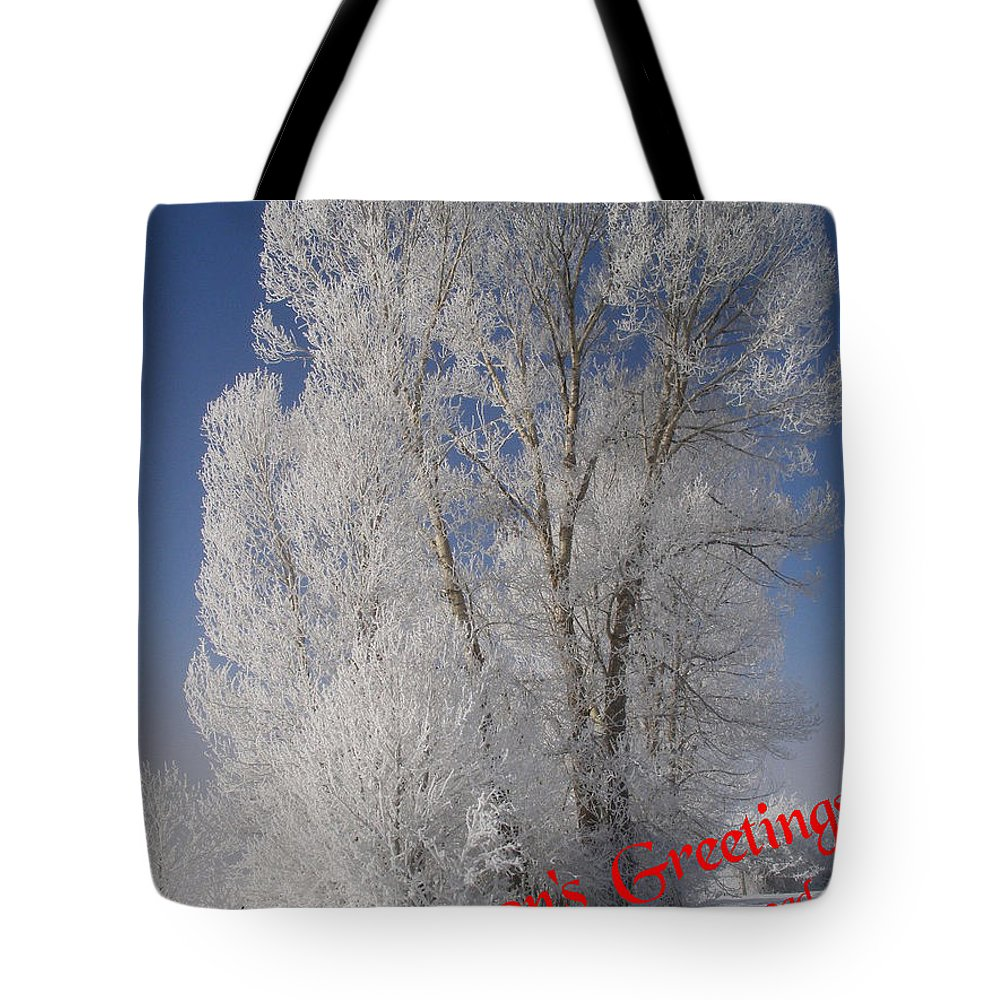 Christmas Cards Tote Bag featuring the photograph Seasons Greetings From Down The Road by DeeLon Merritt