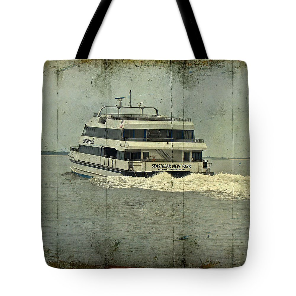 Seastreak Tote Bag featuring the photograph Seastreak Catamaran - Ferry From Atlantic Highlands To Nyc by Mother Nature