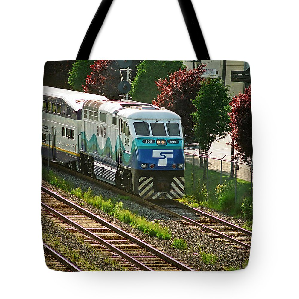 Trains Tote Bag featuring the photograph Seattle Sounder Train by Randy Harris