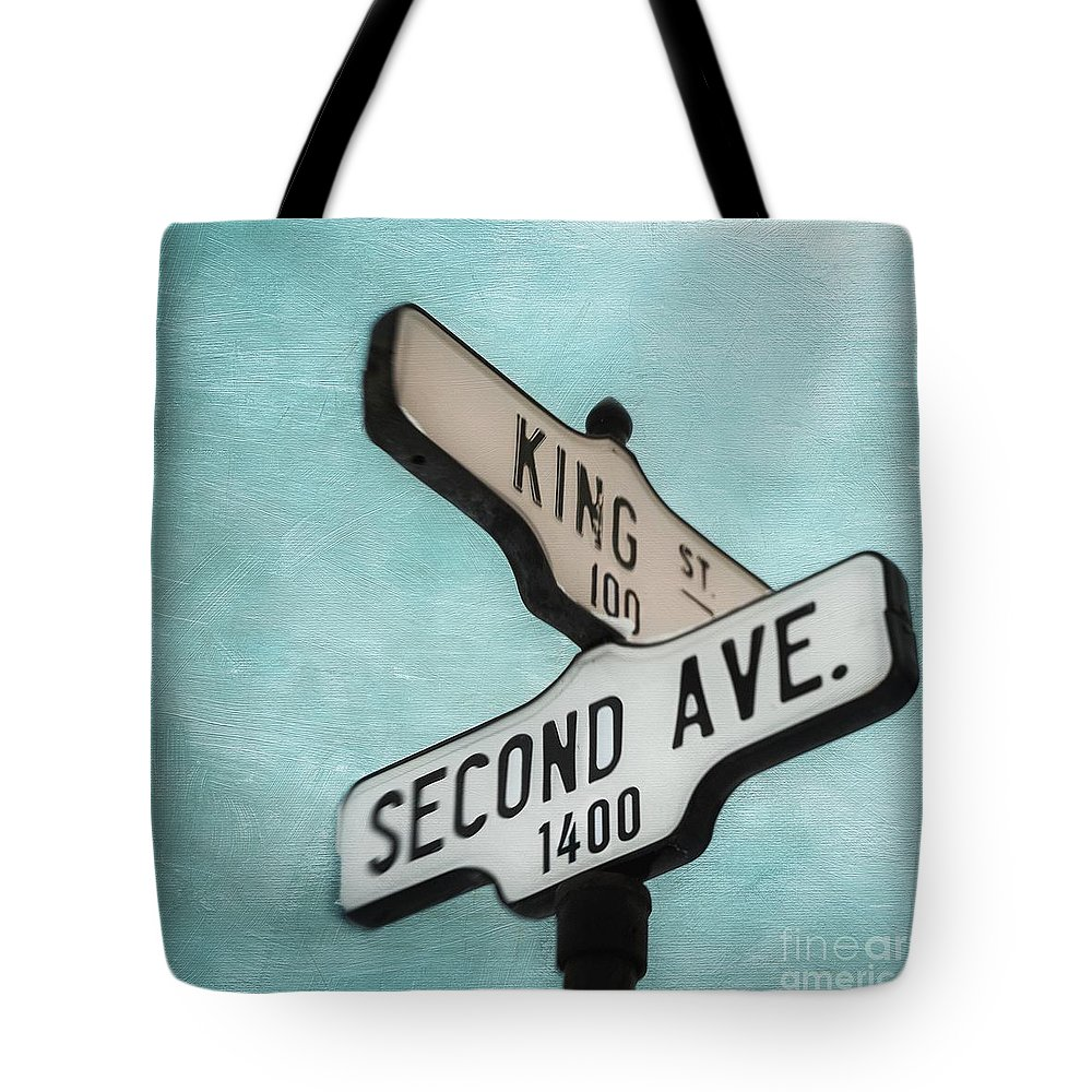 Sign Tote Bag featuring the photograph second Avenue 1400 by Priska Wettstein
