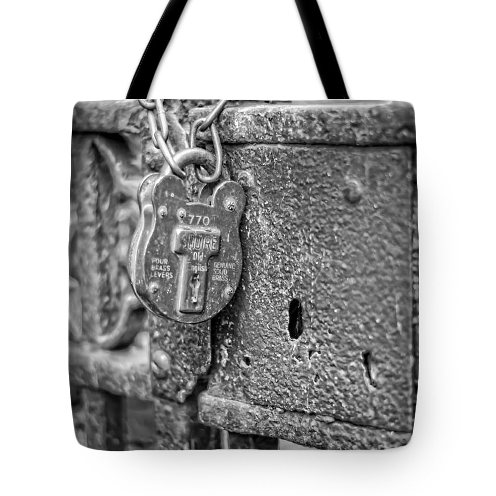 Lock Tote Bag featuring the photograph Secured Forever by Heather Applegate