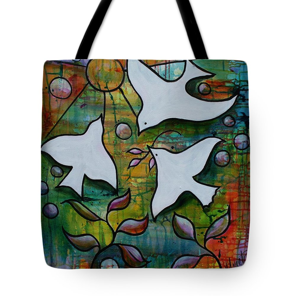 Doves Tote Bag featuring the painting Seeking The Son by Almeta LENNON