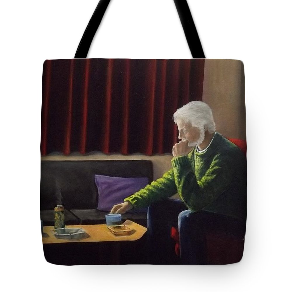 Self Portrait Tote Bag featuring the painting Self Portrait Todays Image Variation On A Theme by Michael John Cavanagh