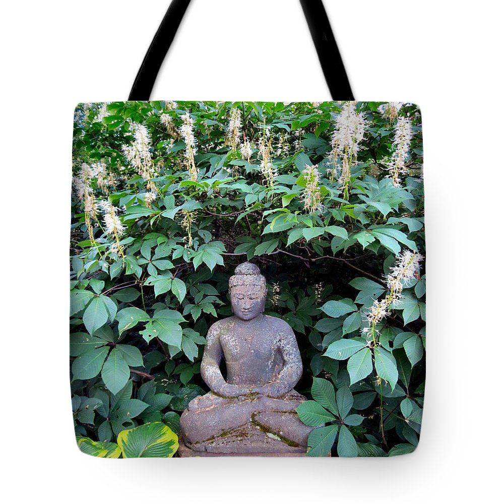 Budda Tote Bag featuring the photograph Serene by Art Dingo