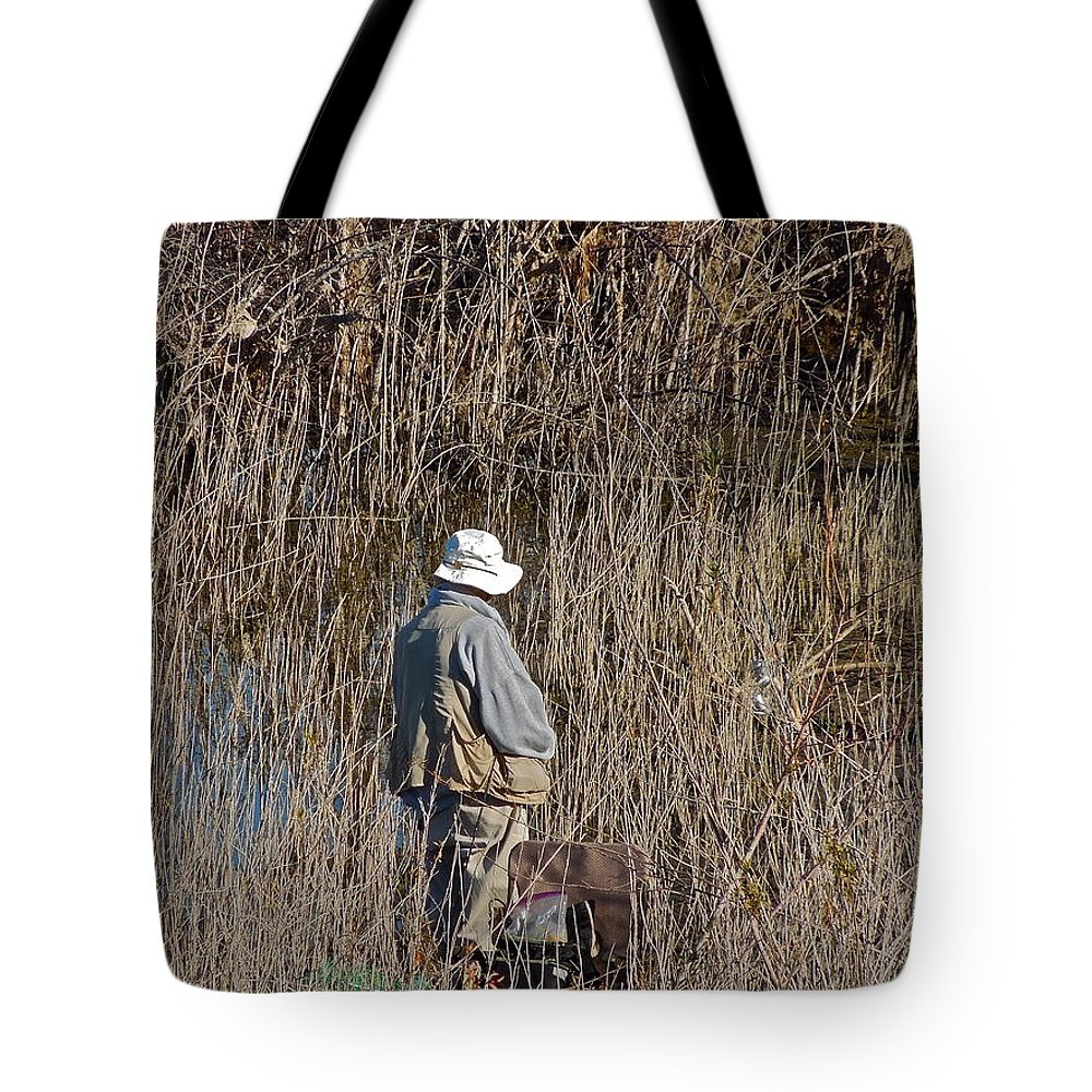 People Tote Bag featuring the photograph Serious Fisherman by Diana Hatcher