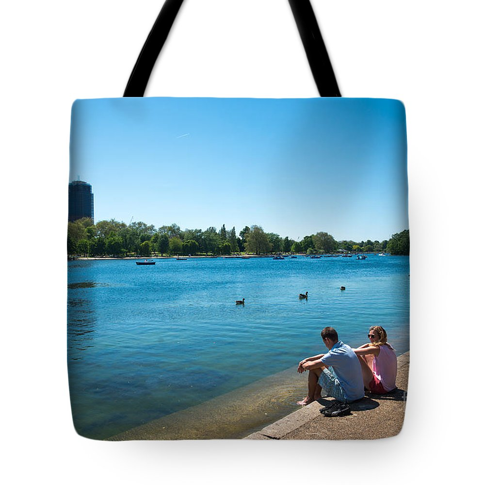 Serpentine Tote Bag featuring the photograph Serpentine Hyde Park by Andrew Michael