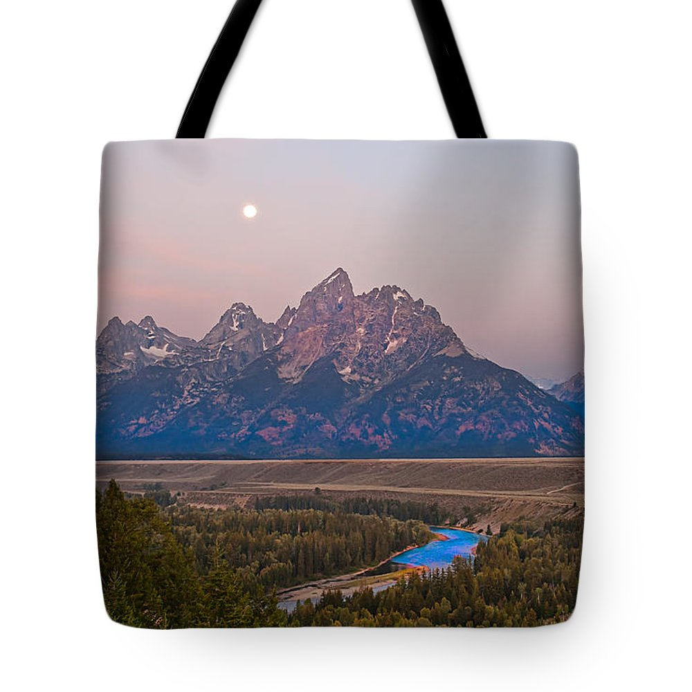 Grand Teton Tote Bag featuring the photograph Setting Moon by Robert Bales
