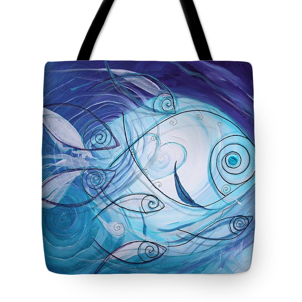 Fish Tote Bag featuring the painting Seven Ichthus And A Heart by J Vincent Scarpace