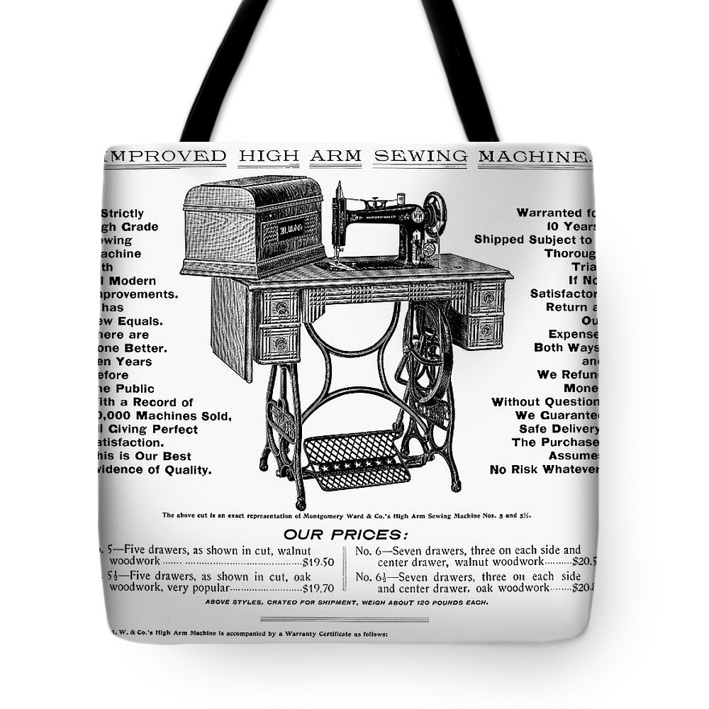 1895 Tote Bag featuring the photograph Sewing Machine Ad, 1895 by Granger