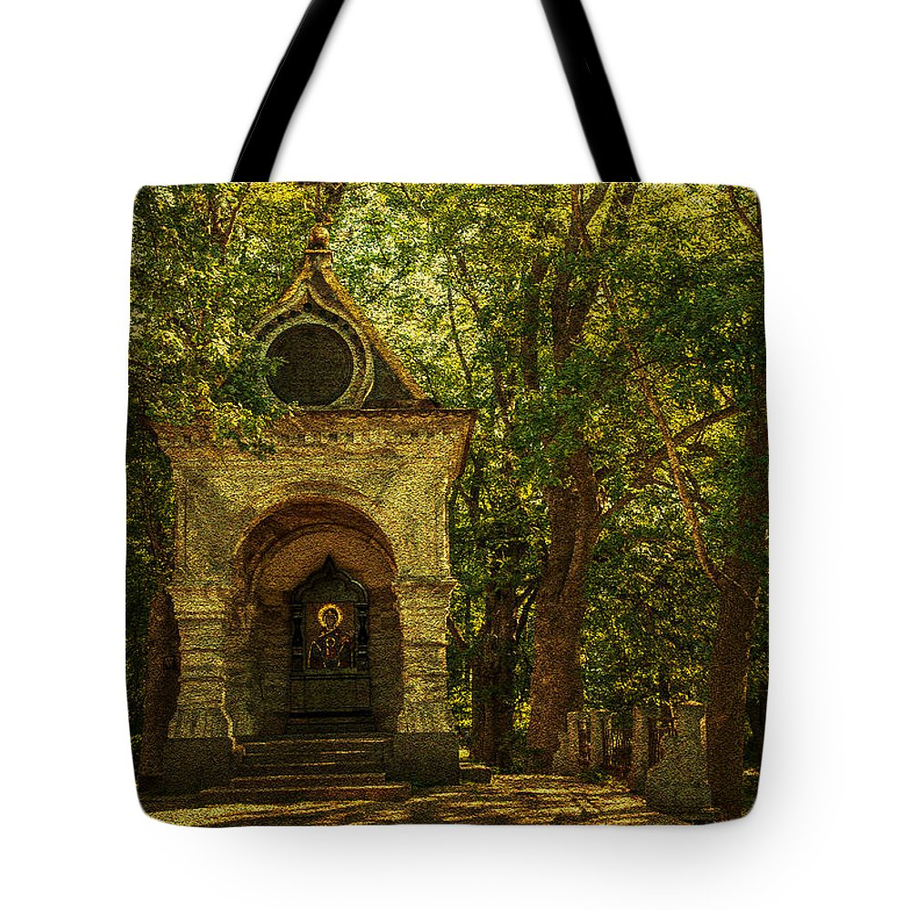 Chapel Tote Bag featuring the photograph Shaded Chapel. Golden Green Series by Jenny Rainbow