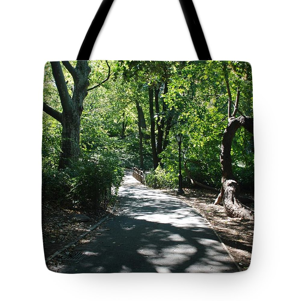 Central Park Tote Bag featuring the photograph Shaded Paths In Central Park by Rob Hans