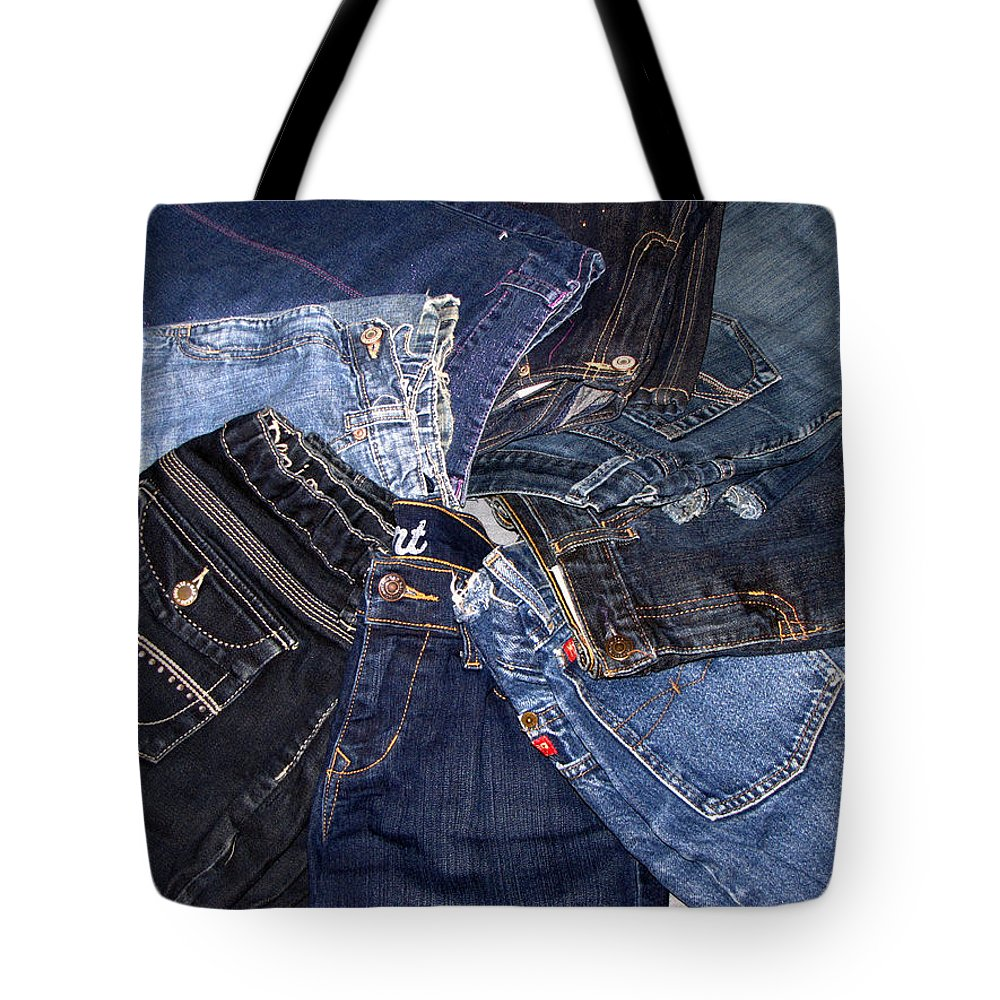 Denim Tote Bag featuring the photograph Shades Of Denim by Denise Keegan Frawley