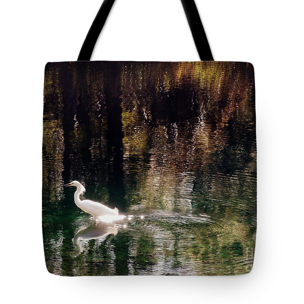 Egret Tote Bag featuring the photograph Shadowwaters by Lydia Holly