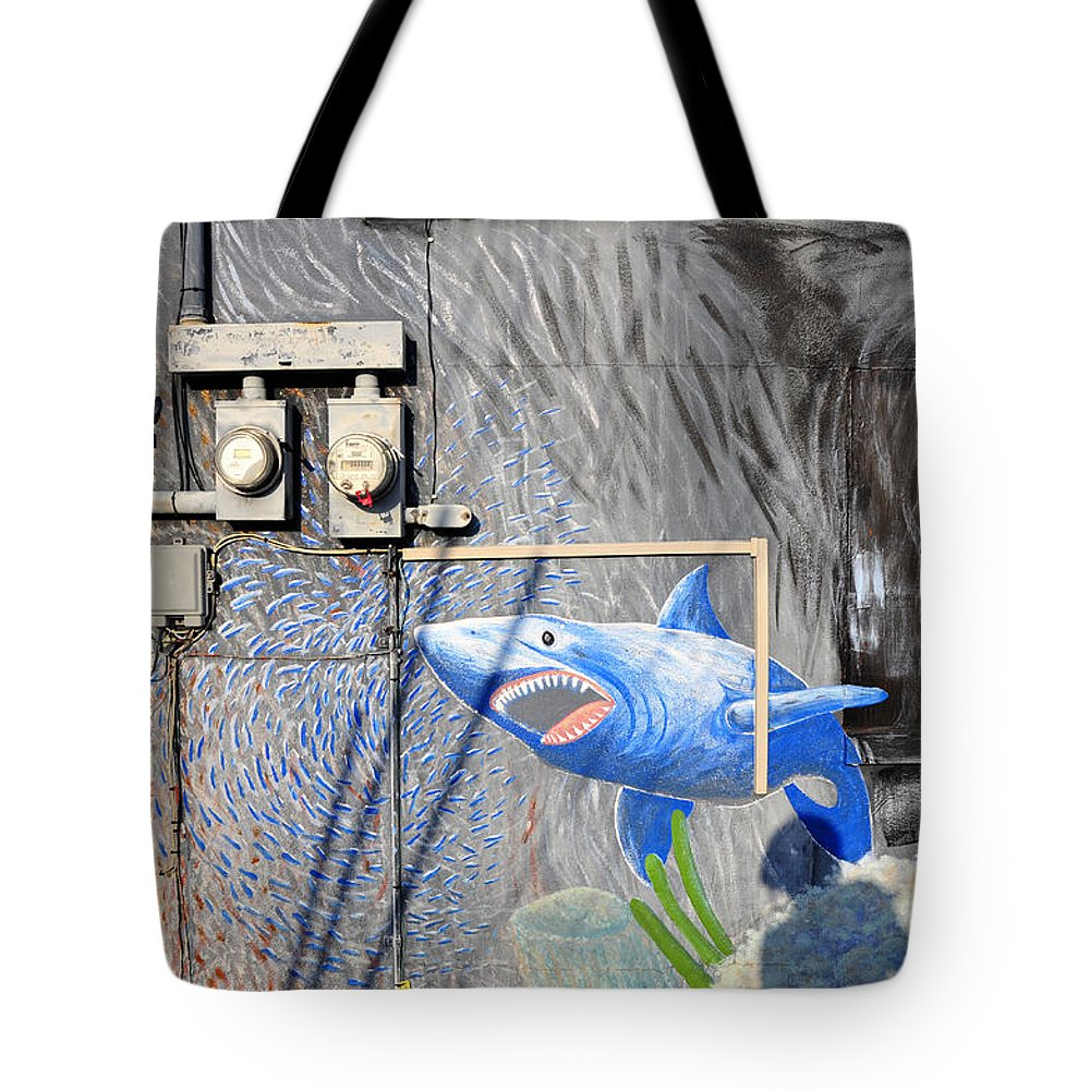 Fine Art Photography Tote Bag featuring the photograph Shark Bite by David Lee Thompson