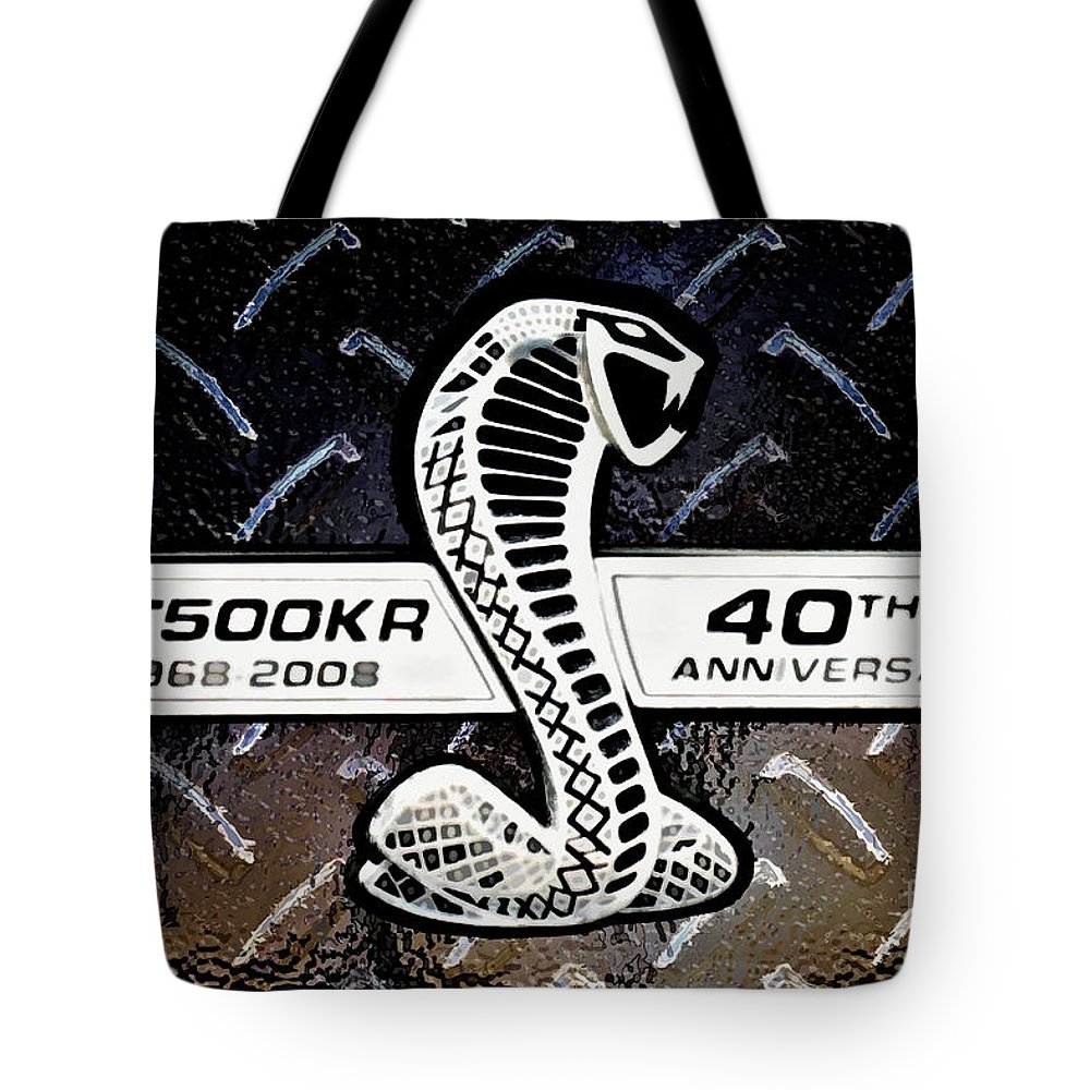 Ford Tote Bag featuring the digital art Shelby Logo by Tommy Anderson