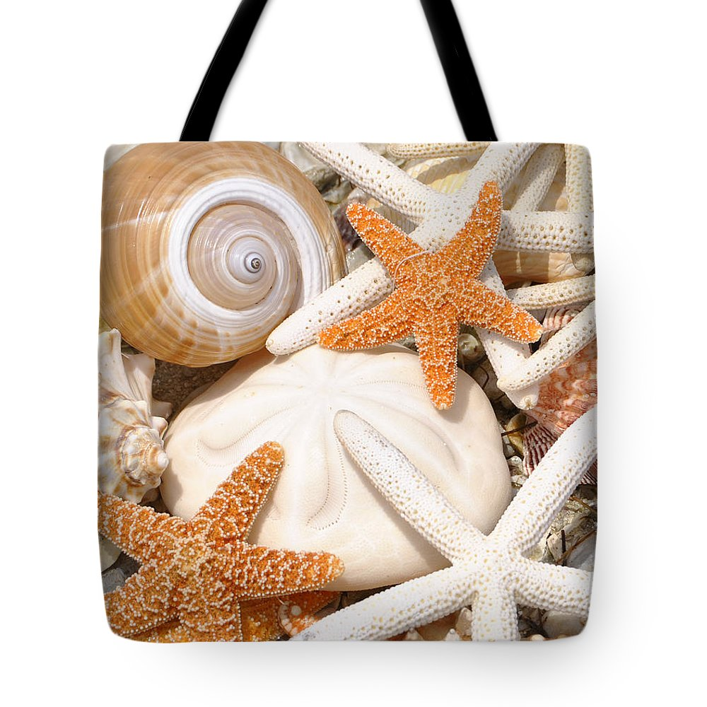 Sea Shells Tote Bag featuring the photograph Shellebration by Maria Nesbit