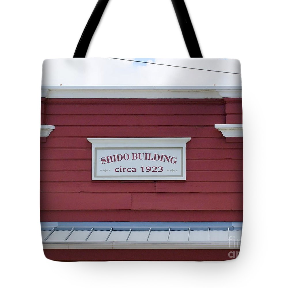 Signs Tote Bag featuring the photograph Shido Building Circa 1923 by Mary Deal