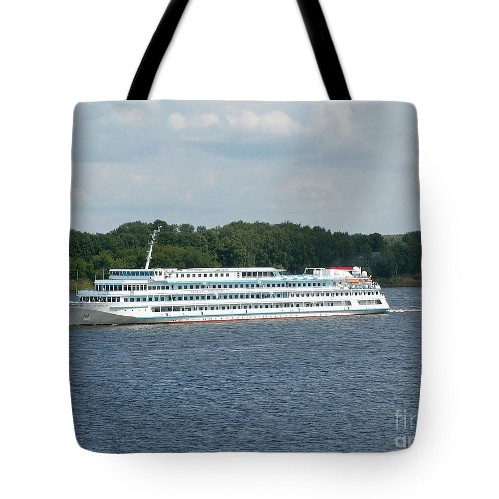 Ship Tote Bag featuring the photograph Ship On Volga by Evgeny Pisarev
