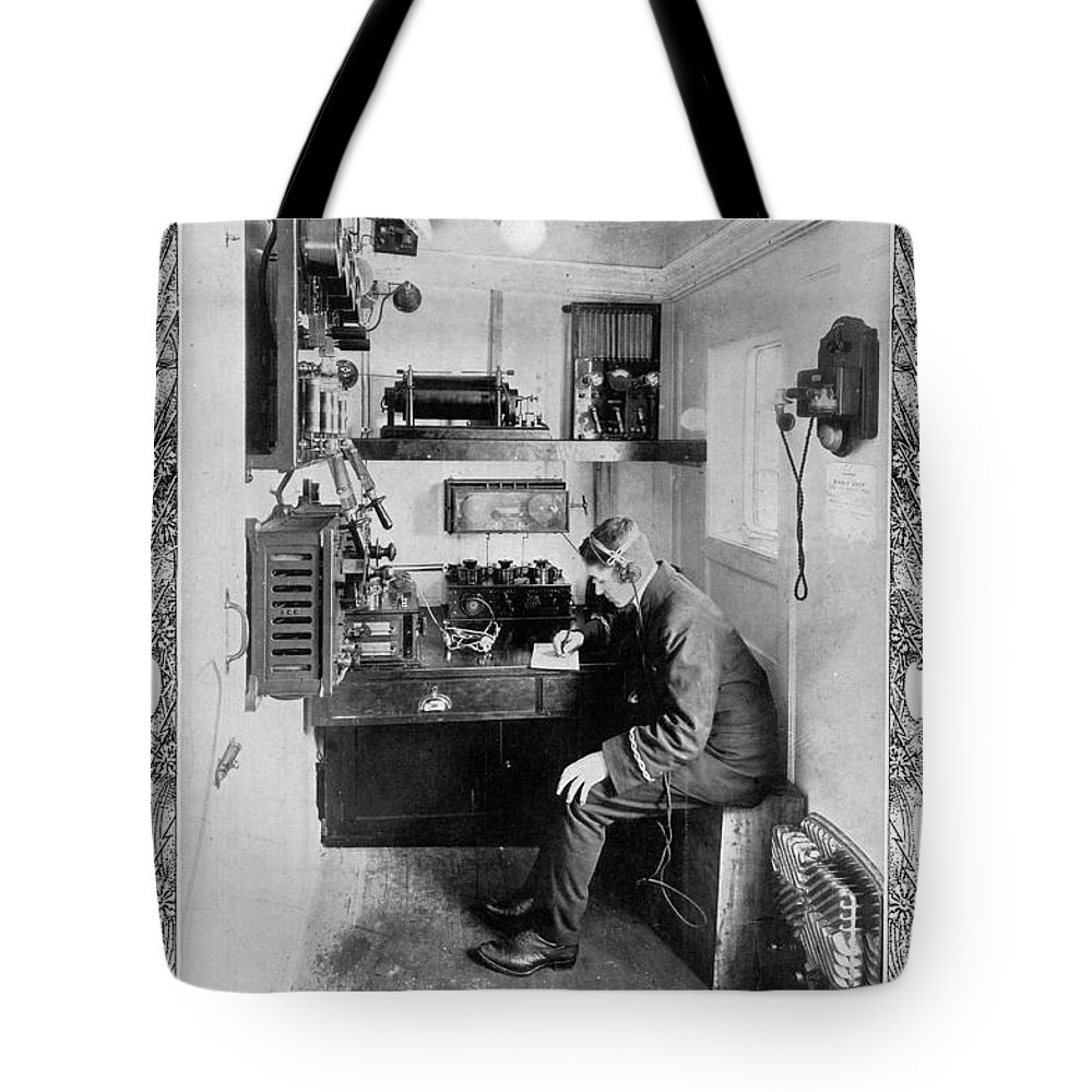 1912 Tote Bag featuring the photograph Ship: Telegraphy Room by Granger