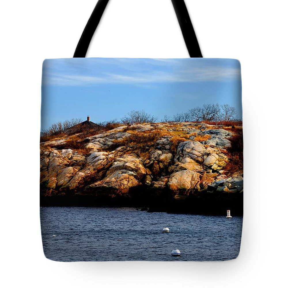 Rockport Tote Bag featuring the photograph Rockport Shore Rocks - Greeting Card by Mark Valentine