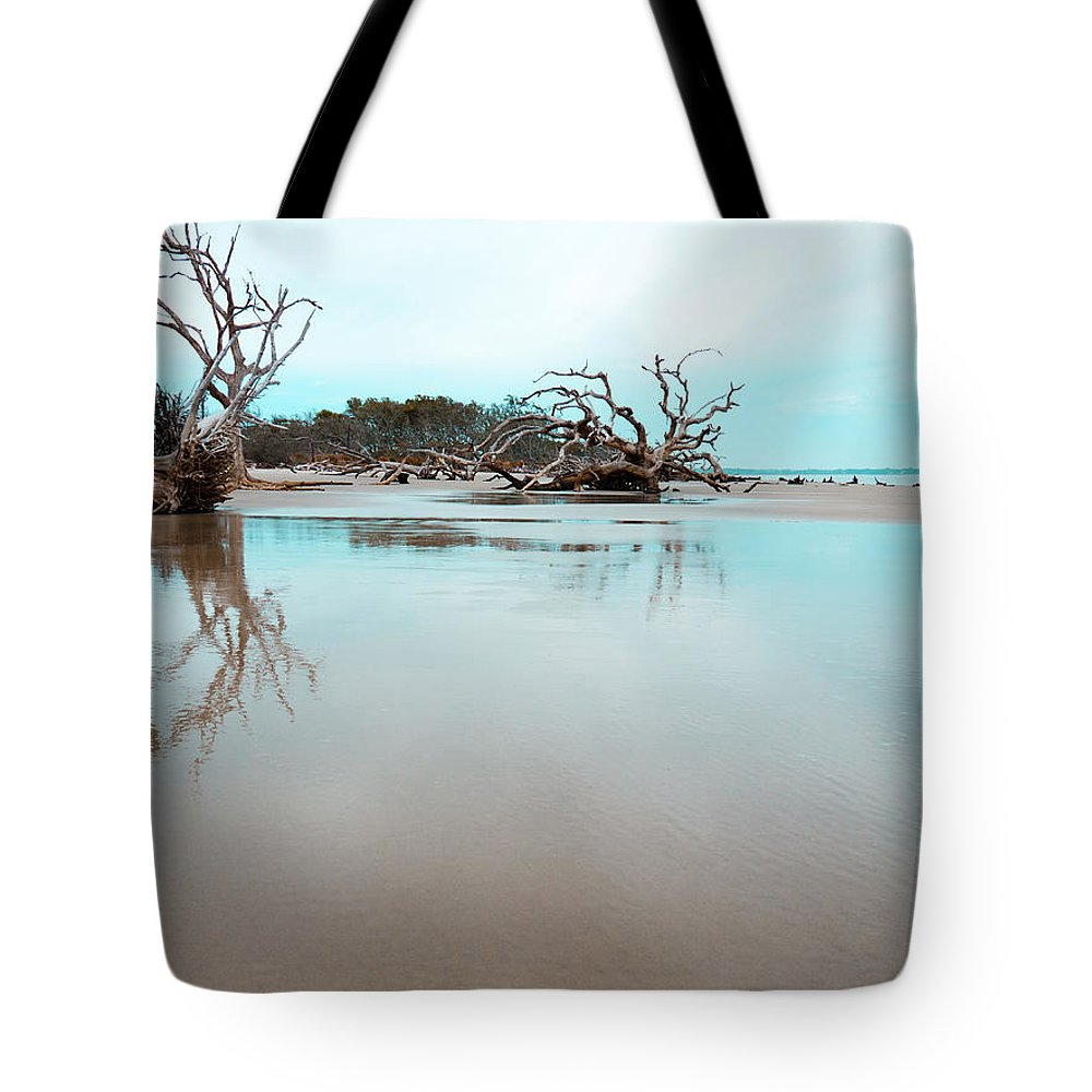Ocean Tote Bag featuring the photograph Shoreline - Driftwood Beach Jekyll Island by Geoff Powell