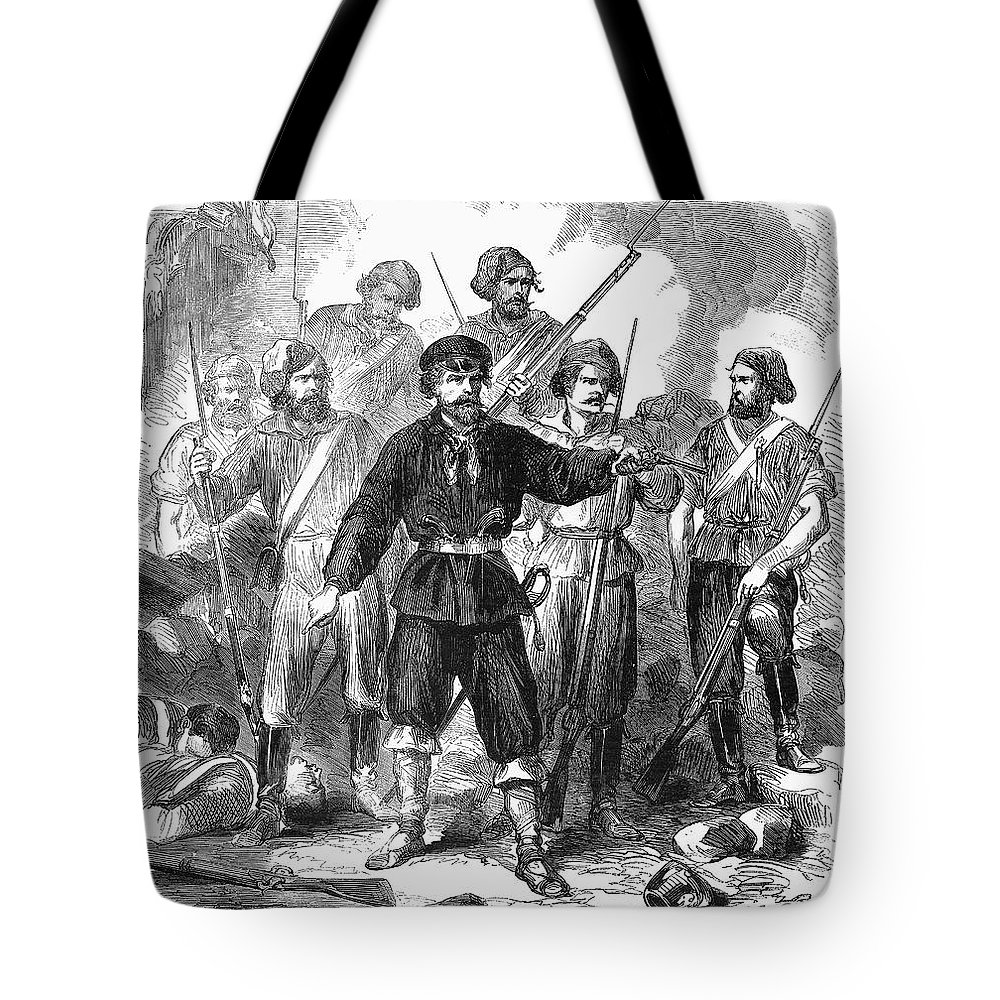 1860 Tote Bag featuring the photograph Sicily: Guerrillas, 1860 by Granger