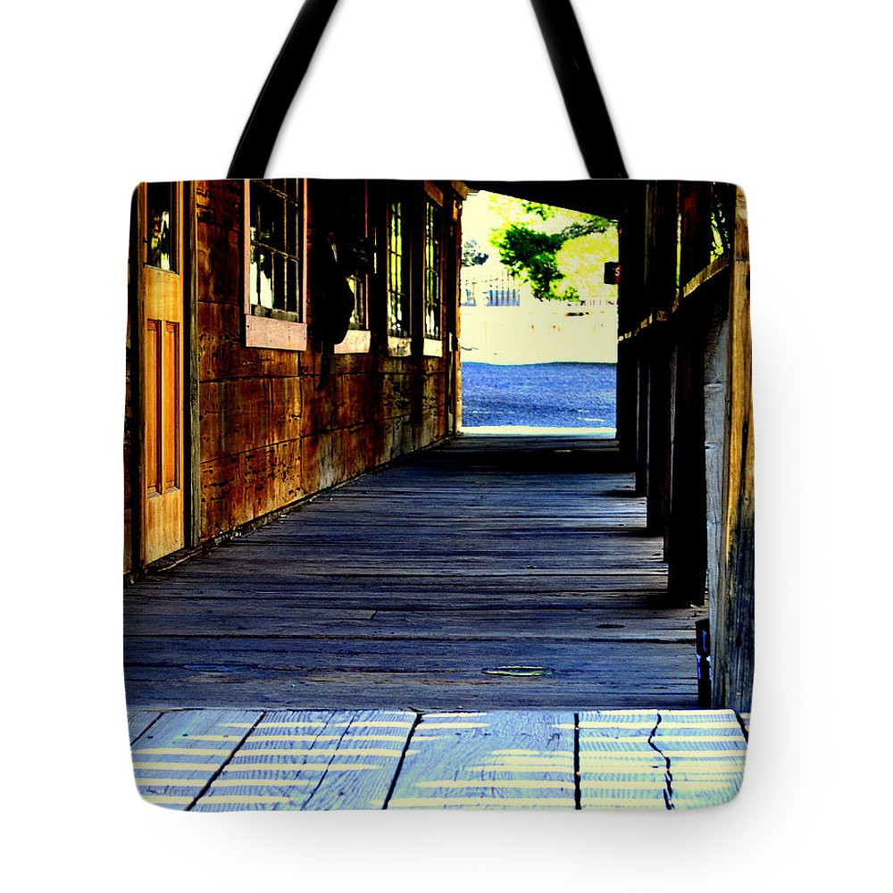 Western Tote Bag featuring the photograph Side Walk by Diane montana Jansson