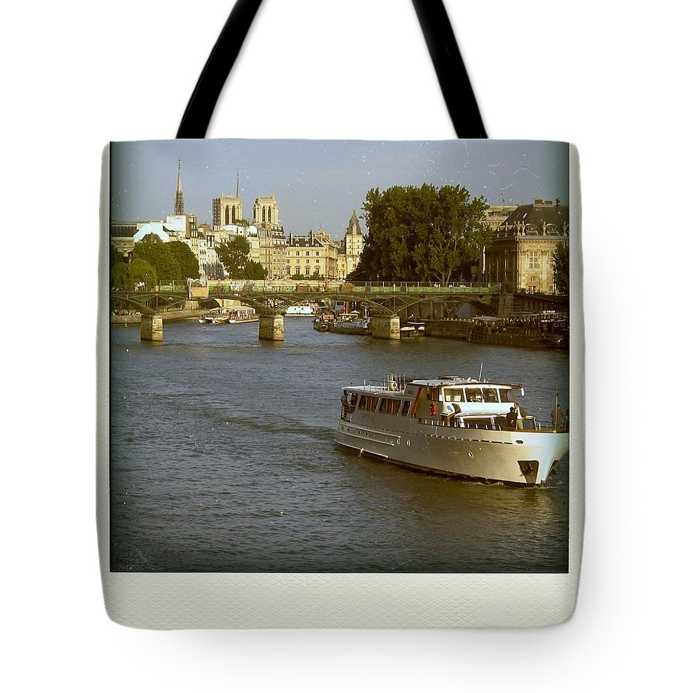 Paris Tote Bag featuring the photograph Sightseeings On The River Seine In Paris by Bernard Jaubert