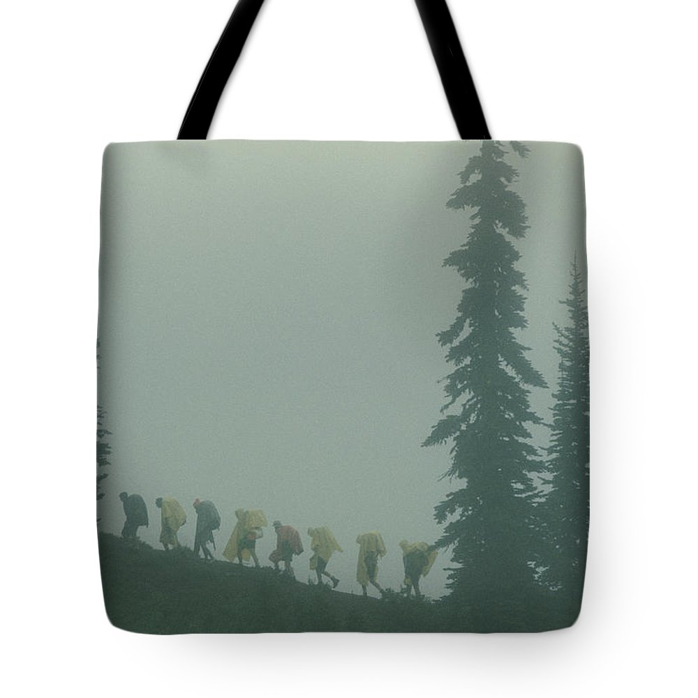 mount Rainier National Park Tote Bag featuring the photograph Silhouette Of Girl Scouts by B. Anthony Stewart