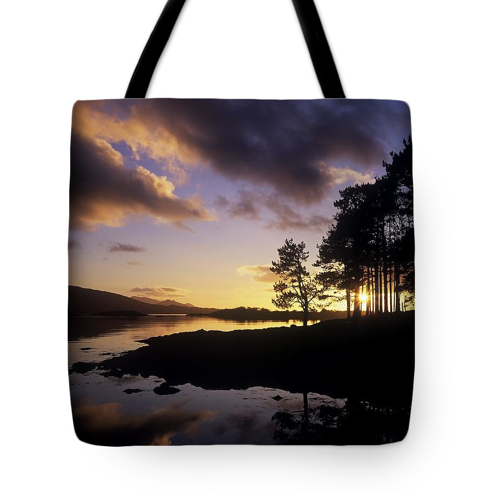 Bays Tote Bag featuring the photograph Silhouette Of Trees On The Riverbank by The Irish Image Collection