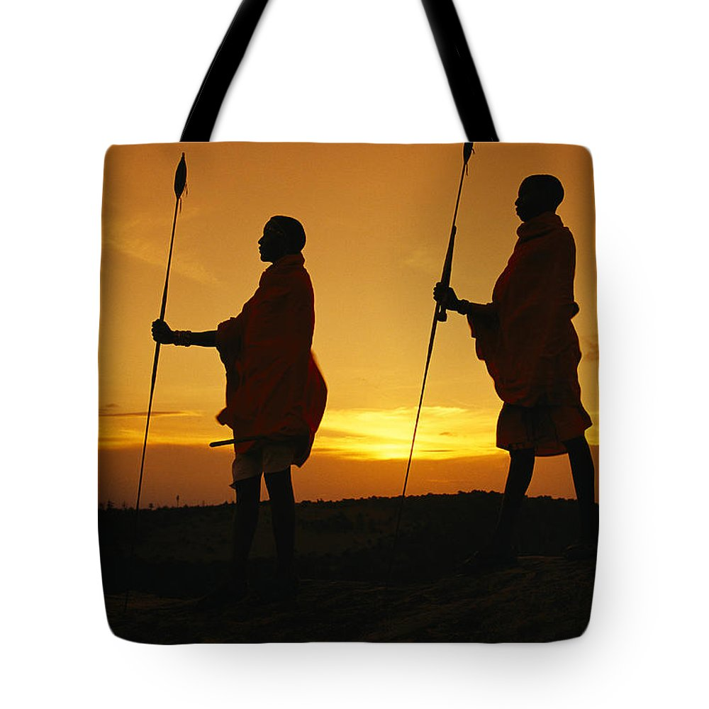 Africa Tote Bag featuring the photograph Silhouetted Laikipia Masai Guides by Richard Nowitz