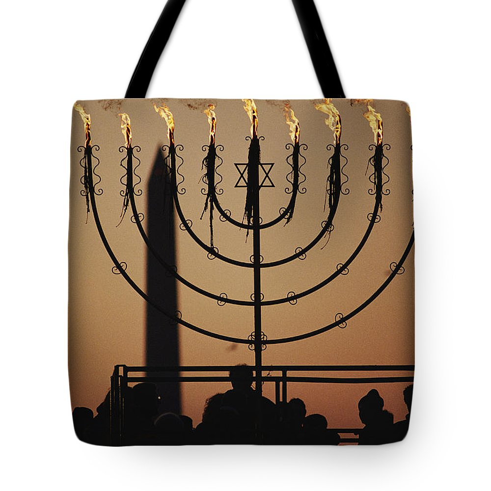 North America Tote Bag featuring the photograph Silhouetted Worshippers Stand by Sam Kittner