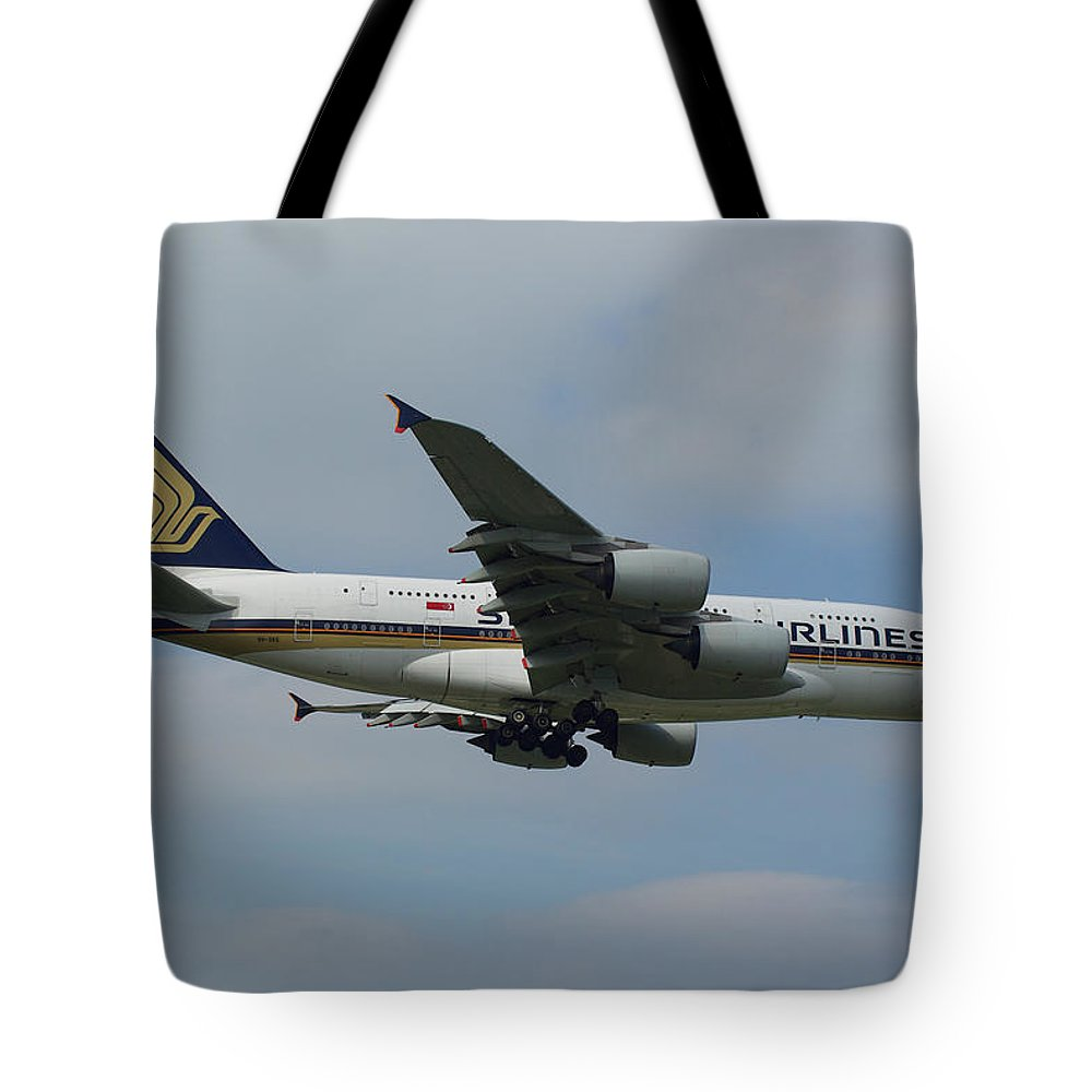 Singapore Tote Bag featuring the photograph Singapore Airlines Airbus A380 by Tim Beach