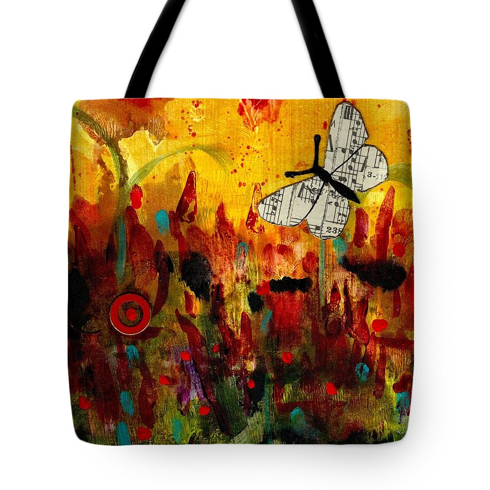 Emotive Art Tote Bag featuring the mixed media Singing Butterfly by Angela L Walker